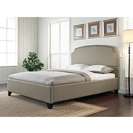 maison eastern king upholstered bed pebble stone - Eastern King Bed Frame
