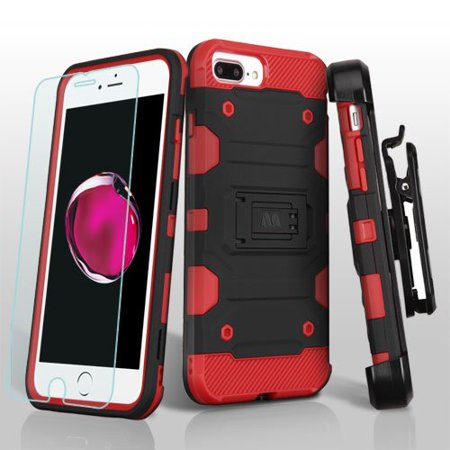 Apple iPhone 7 Plus Case - Wydan Shockproof Heavy Duty Holster Kickstand Storm Phone Cover w/ Tempered Glass Screen Protector Black on Red