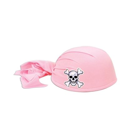 Club Pack of 12 Pink Pirate Scarf Hats with Skull and Crossbones - Child Size (Pirate Scarf)