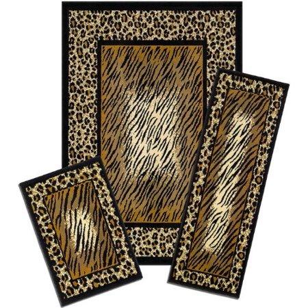 Park Avenue Collection Capri 3 Piece Rug Set - Leopard Skin
