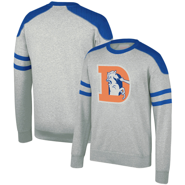 Denver Broncos Mitchell & Ness Post Season Run Crew Sweatshirt - Heathered Gray