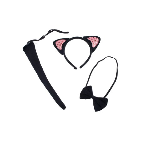 Lux Accessories Black Pink Glittery Kitty Cat Ears Bowtie Tail Costume Dressup](Halloween Cat Tail And Ears)
