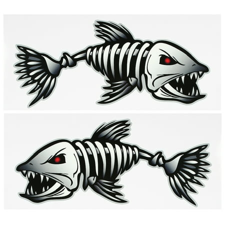 2 Pieces Fish Teeth Mouth Stickers Skeleton Fish Stickers Fishing Boat Canoe Kayak Graphics Accessories