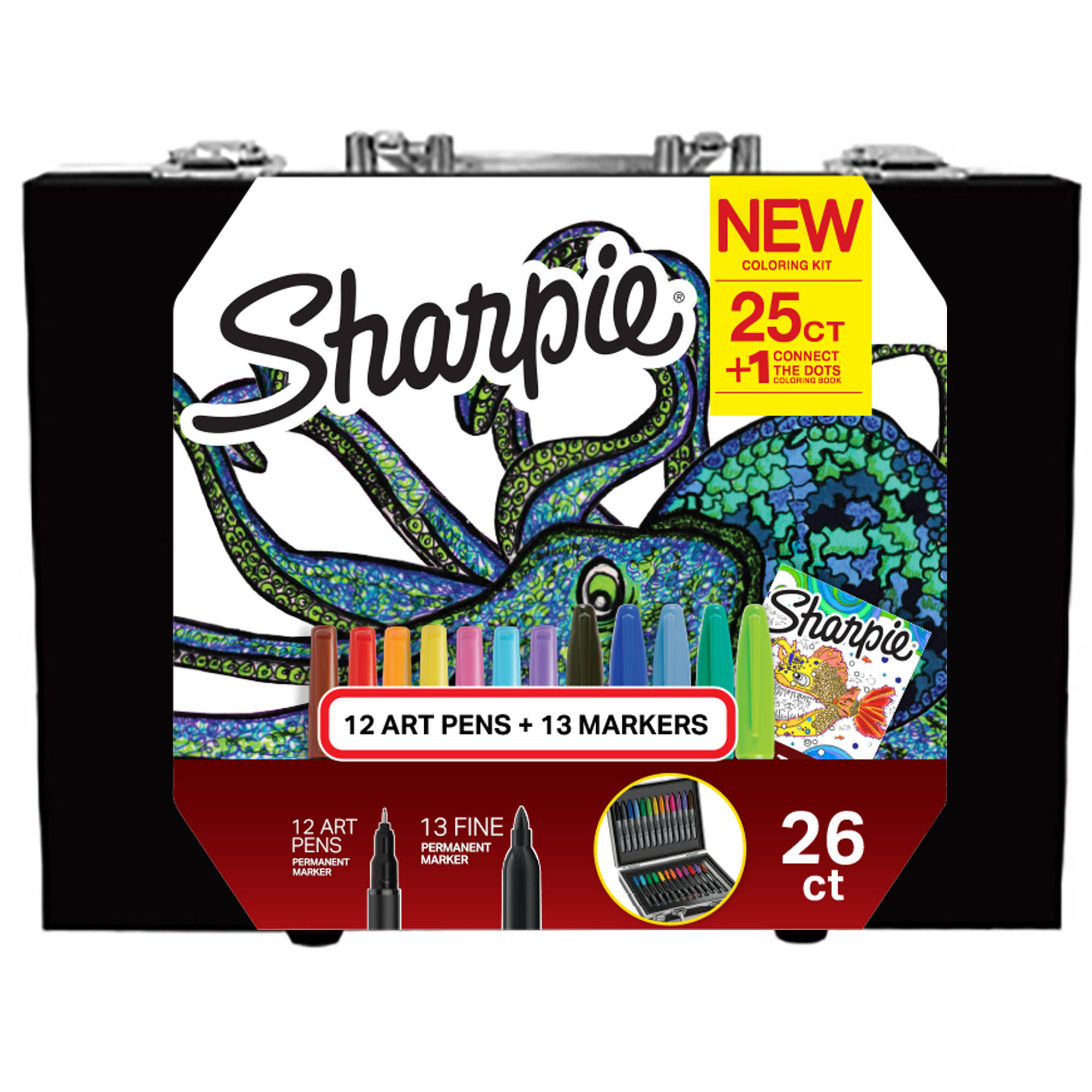 Sharpie Coloring Kit with Permanent Markers, Art Pens and Coloring Booklet, Hard Case, 26 Count