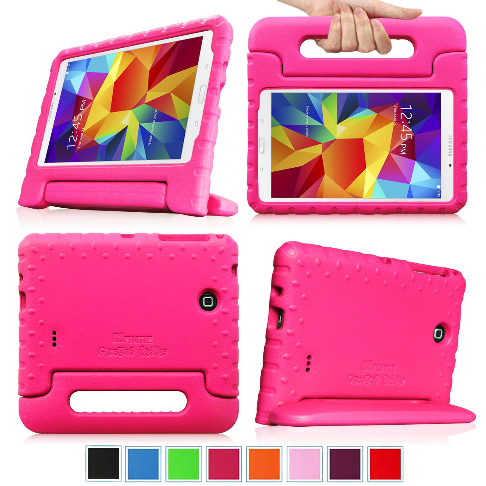 Samsung Galaxy Tab 4 7.0 Inch Case - Fintie Lightweight Shockproof Convertible Handle Stand Cover Kids Friendly, Magenta