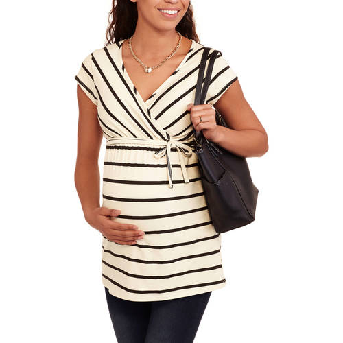 Times Two Maternity Short Sleeve Surplice Top--Perfect for Nursing