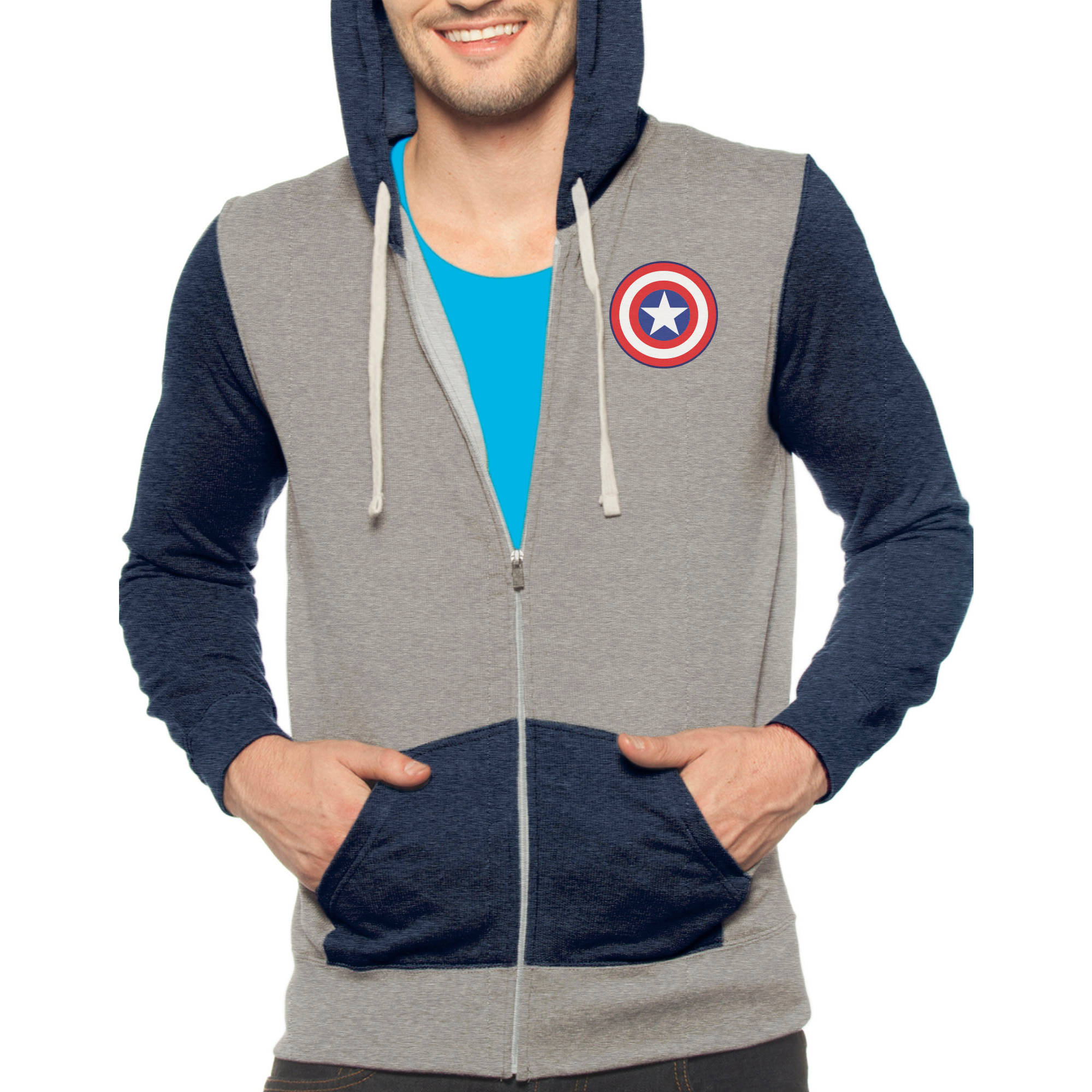 Marvel Captain America Men's Full Zip Fleece Hoodie