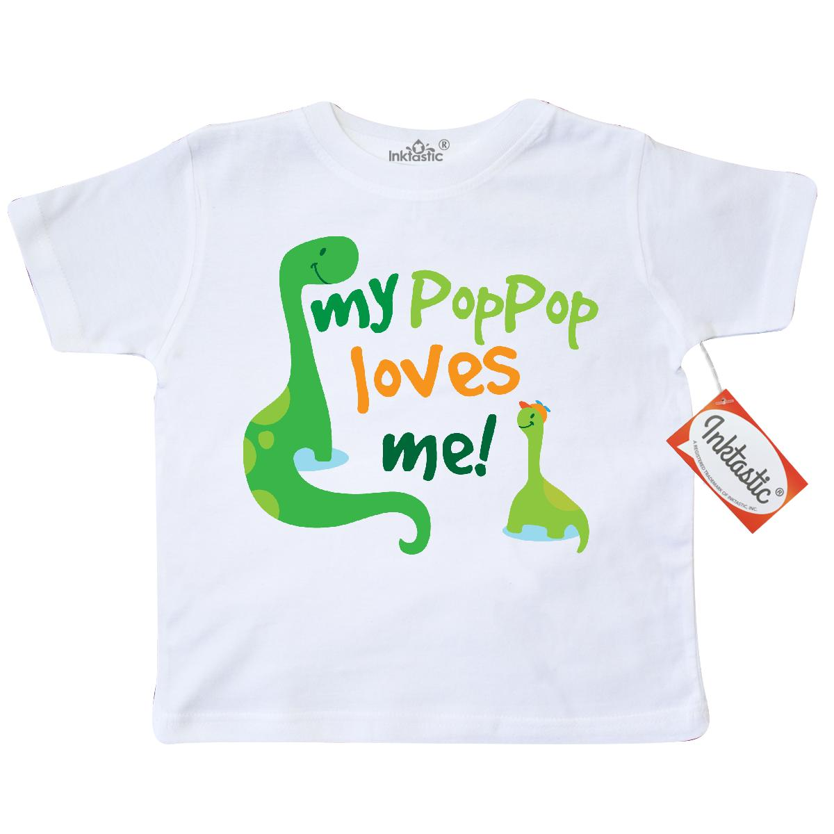 Inktastic My PopPop Loves Me dinosaur Toddler T-Shirt pop gift from grandson grandchild boys animals cute grandpa family fathers day tees. child preschooler kid clothing apparel hws
