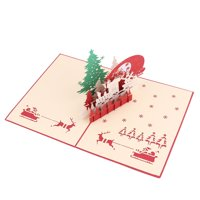 Unique Bargains Festival Paper 3D Christmas Celebration Design Present Greeting Card Red