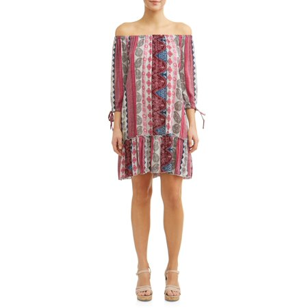 Drop Dress Size 6 Day - Women's Printed Drop Waist Dress
