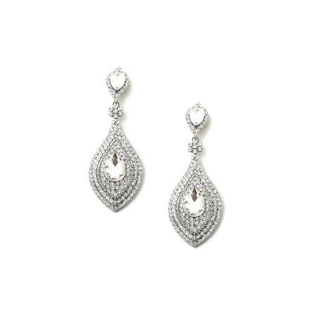 Around Crystal - Rhodium Crystal Rhinestones around Crystal Teardrops Dangle Earrings