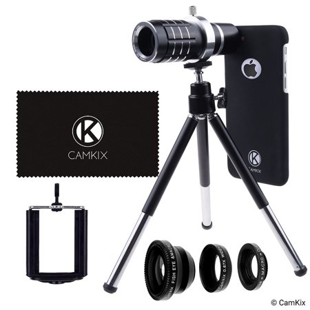 Lens Kit for Apple iPhone 7 (not suitable for iPhone 7 Plus) - 12x Telephoto Lens, Fisheye Lens, Macro Lens, Wide Angle Lens, Tripod, Phone Holder, Lens Holder Ring, Hard Case, Bag and Cleaning (Fish Eye Lense For Iphone 7 Plus)