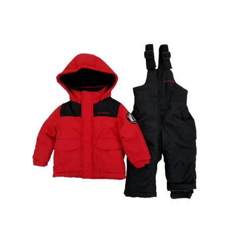 Infant Boys 2-Piece Red & Black Heayweight Coat & Snow Bibs Snowsuit Set