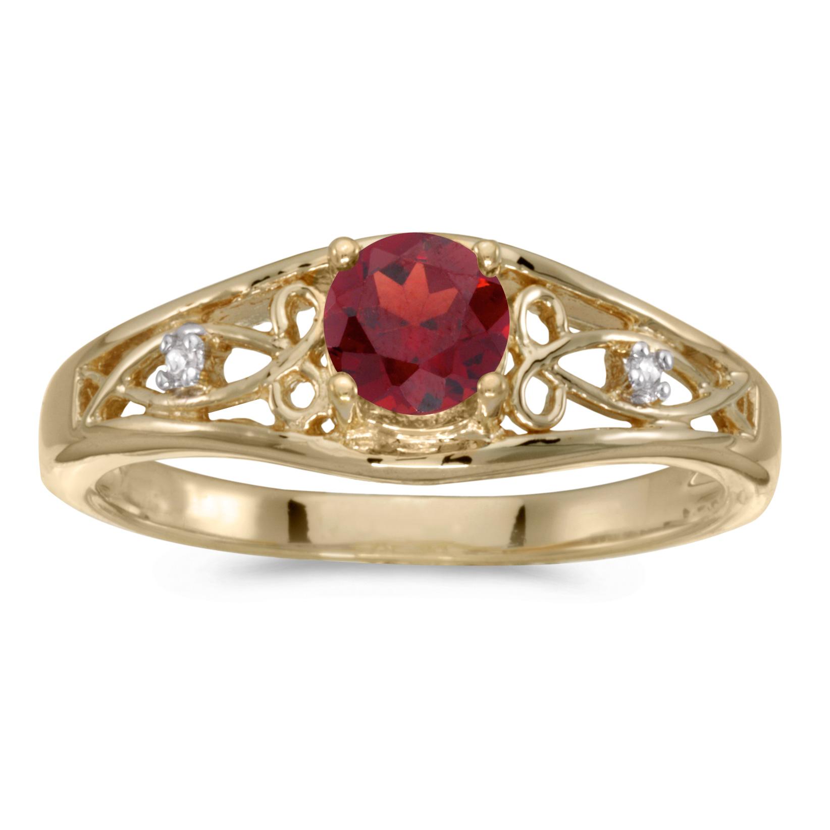10k Yellow Gold Round Garnet And Diamond Ring by
