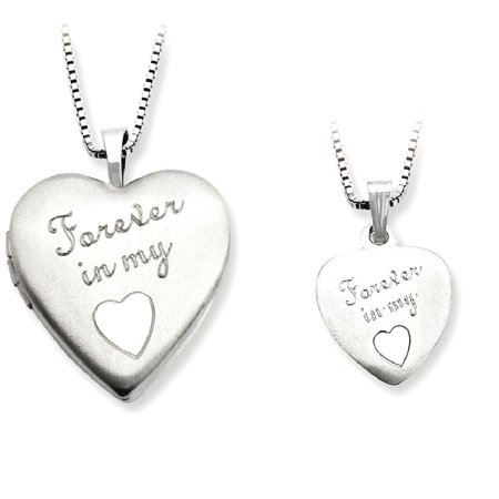 Icecarats 925 Sterling Silver Forever In My Heart Photo Pendant Charm Locket Chain Necklace That Holds Pictures  Set  Fine Jewelry Gift Valentine Day Set For Women Heart