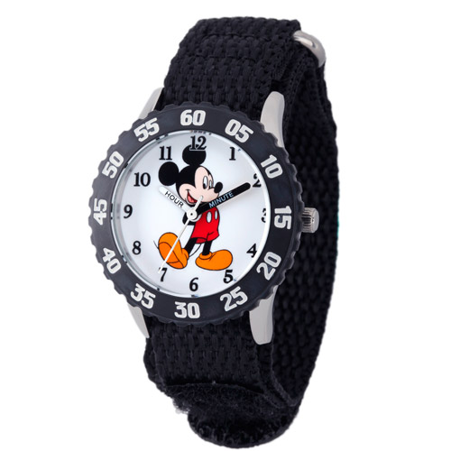 Disney Mickey Mouse Boys' Stainless Steel with Bezel Watch, Black Nylon Strap