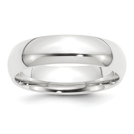 - Platinum Solid Polished Engravable 6mm Half-Round Comfort Fit Lightweight Band Ring - Ring Size: 4 to 12