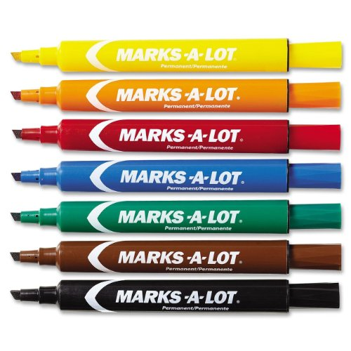 Avery Marks-a-lot Everbold Flipchart Markers - Chisel Marker Point Style - Black, Blue, Orange, Green, Purple, Yellow, Red, Brown Ink - 12 / Set (AVE24800)