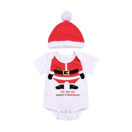 Christmas Newborn Baby Girl Boy Romper Jumpsuit+Santa Hat Outfits Set Costume