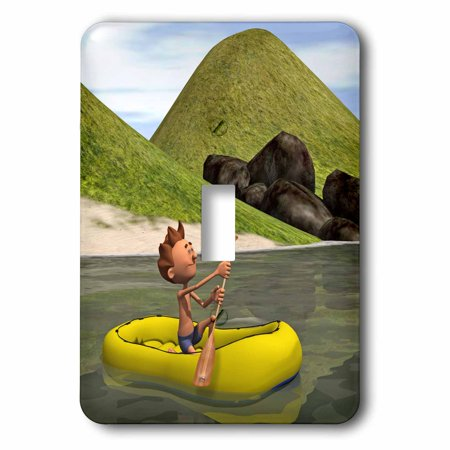 3dRose Cartoon Man on Ocean Rowing Inflatable Raft, 2 Plug Outlet Cover