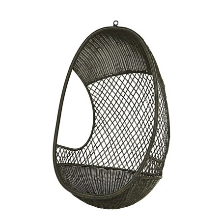 woven check pod hanging chair