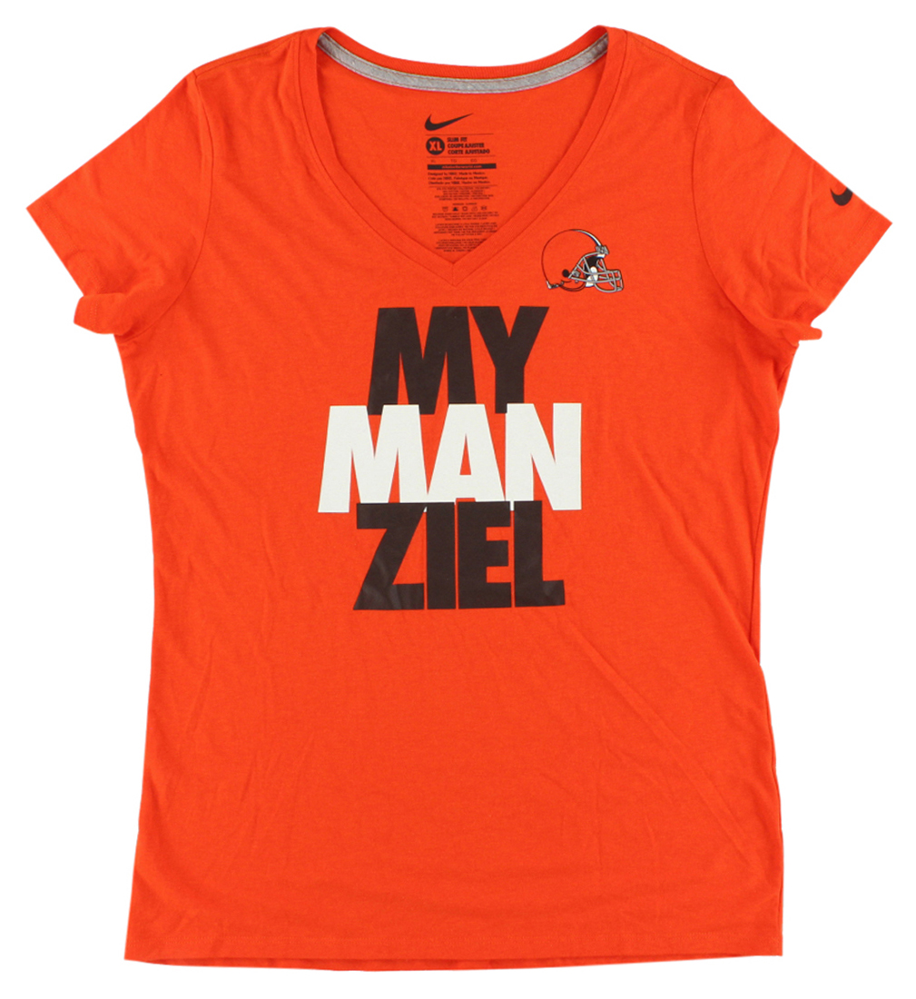 Nike Womens Cleveland Browns NFL My Man Ziel T Shirt Orange XL