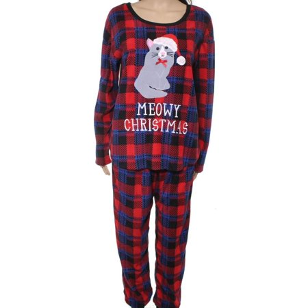 sleep tease new red women size xl fleece meowy christmas cat pajama set