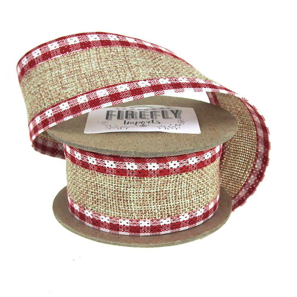 Picnic Burlap Holiday Christmas Ribbon Wired Edge, 1-1/2-Inch, 5 Yards, Brown/Red