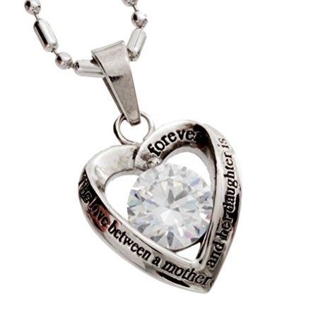 R H  Jewelry Stainless Steel Cz Heart Mother And Daughter Pendant Necklace