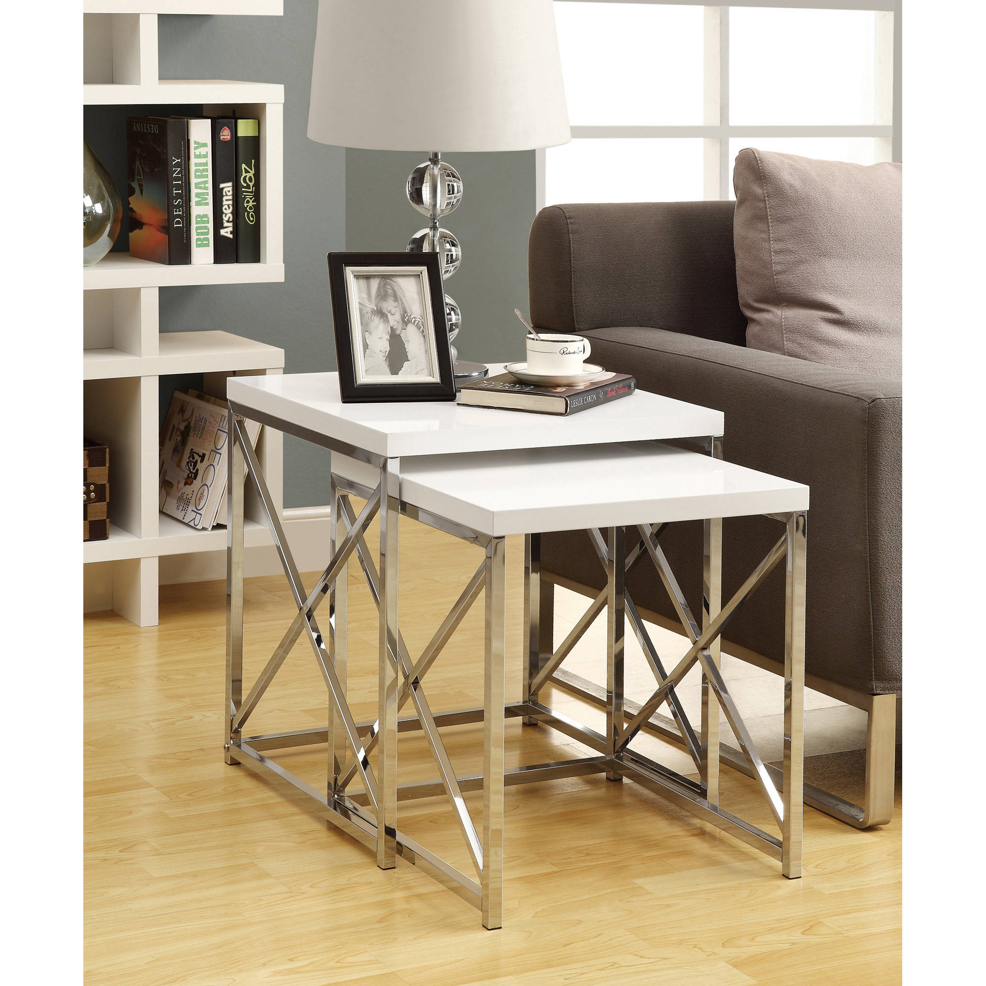 Monarch Nesting Table 2Pcs Set Glossy White Chrome Metal