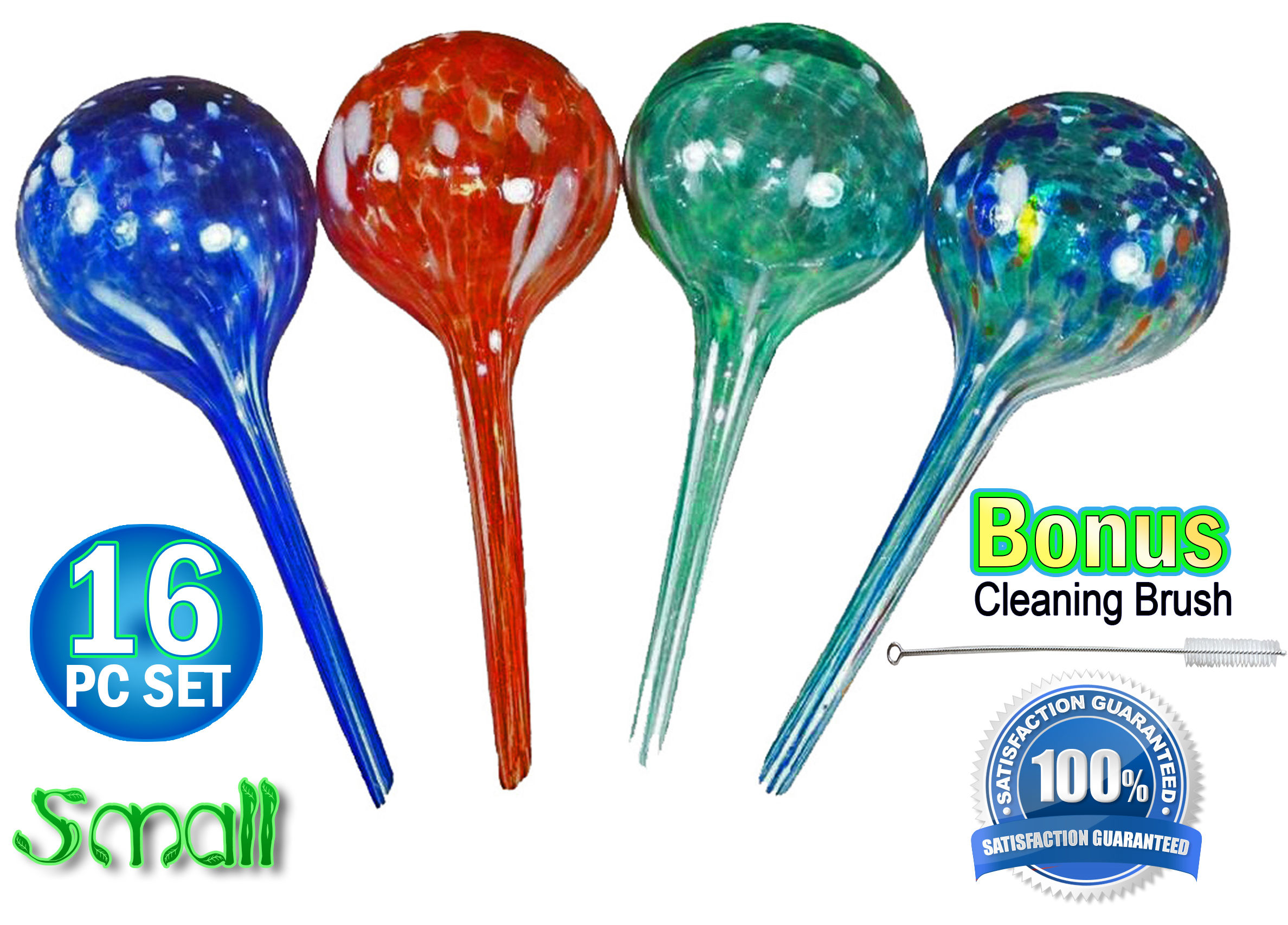 16pc Large Aqua Plant Glass Watering Globes Watering Ball Bulbs by 5 Star Super Deals