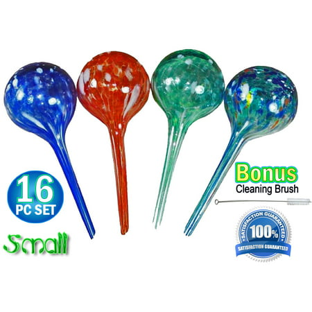 16pc Large Aqua Plant Glass Watering Globes - Watering Ball Bulbs
