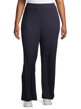 Rachel Rachel Women's Plus Size Wide Leg Solid Ribbed Pull on Pant with Pocket