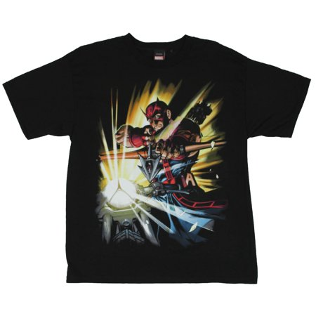 Hawkeye (The Avengers)  Mens T-Shirt - Bow Drawn Cycle Ride Image (Hawkeye From Avengers)