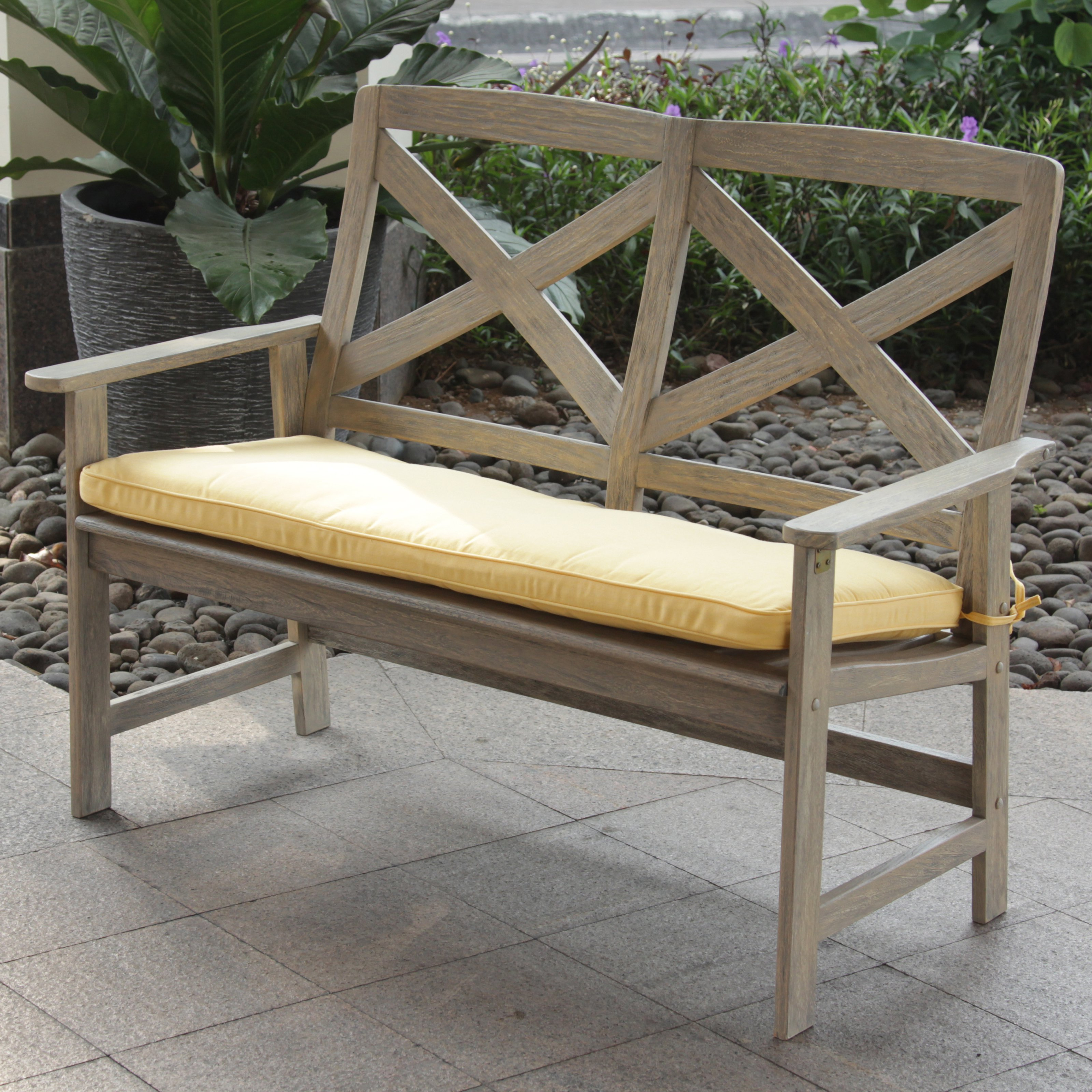 Cambridge Casual 4 ft. Driftwood Outdoor Bench with Cushion