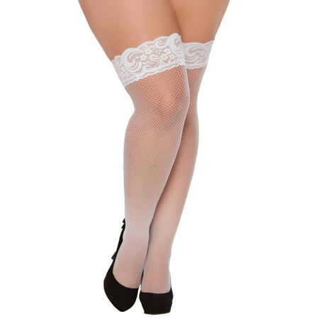 Plus Size Full Figure Lace Top Fishnet Thigh High Stockings - Plus Size Fishnet