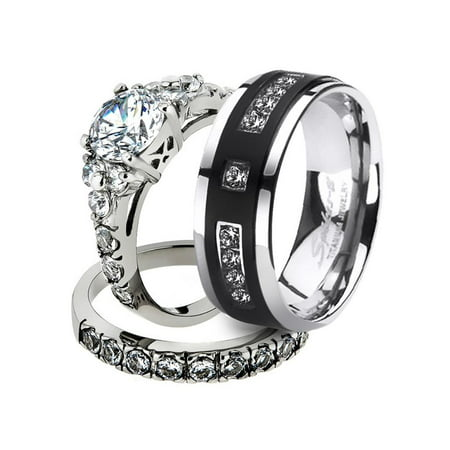 His & Her Stainless Steel 2.50 Ct Cz Bridal Set & Men's Titanium Wedding Band Women's Women's Size 10 Men's Size 10