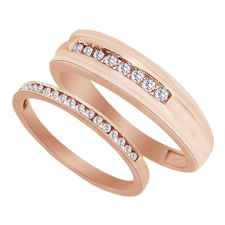 Round Cut White Natural Diamond His and Hers Wedding Band Set in 14K Rose Gold (0.38 Cttw) By Jewel Zone US