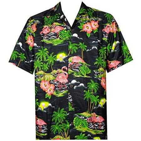 Hawaiian Shirt 48 Mens Scenic Flamingo Beach Aloha Casual Holiday Black M (New Mens Casual Shirt)