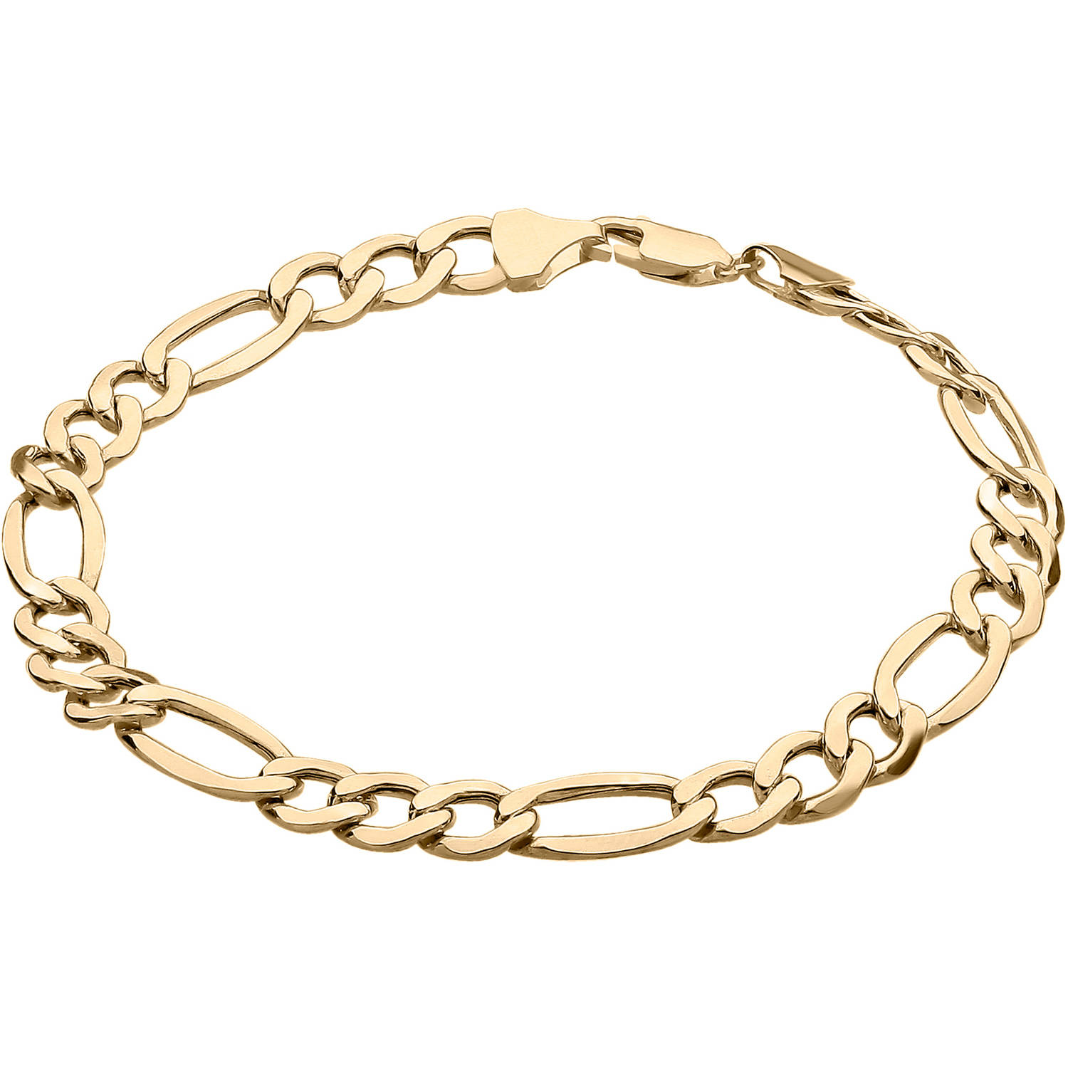 Simply Gold Men's 10kt Yellow Gold 7.55mm Figaro Chain Bracelet, 8.5""