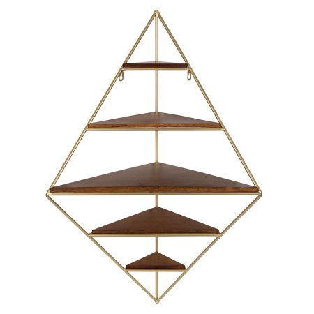 Kate and Laurel - Melora Decorative Mid Century Modern Corner Wall Shelf with Gold Frame and Solid Wood Shelves, Walnut (Solid Wall Shelf)
