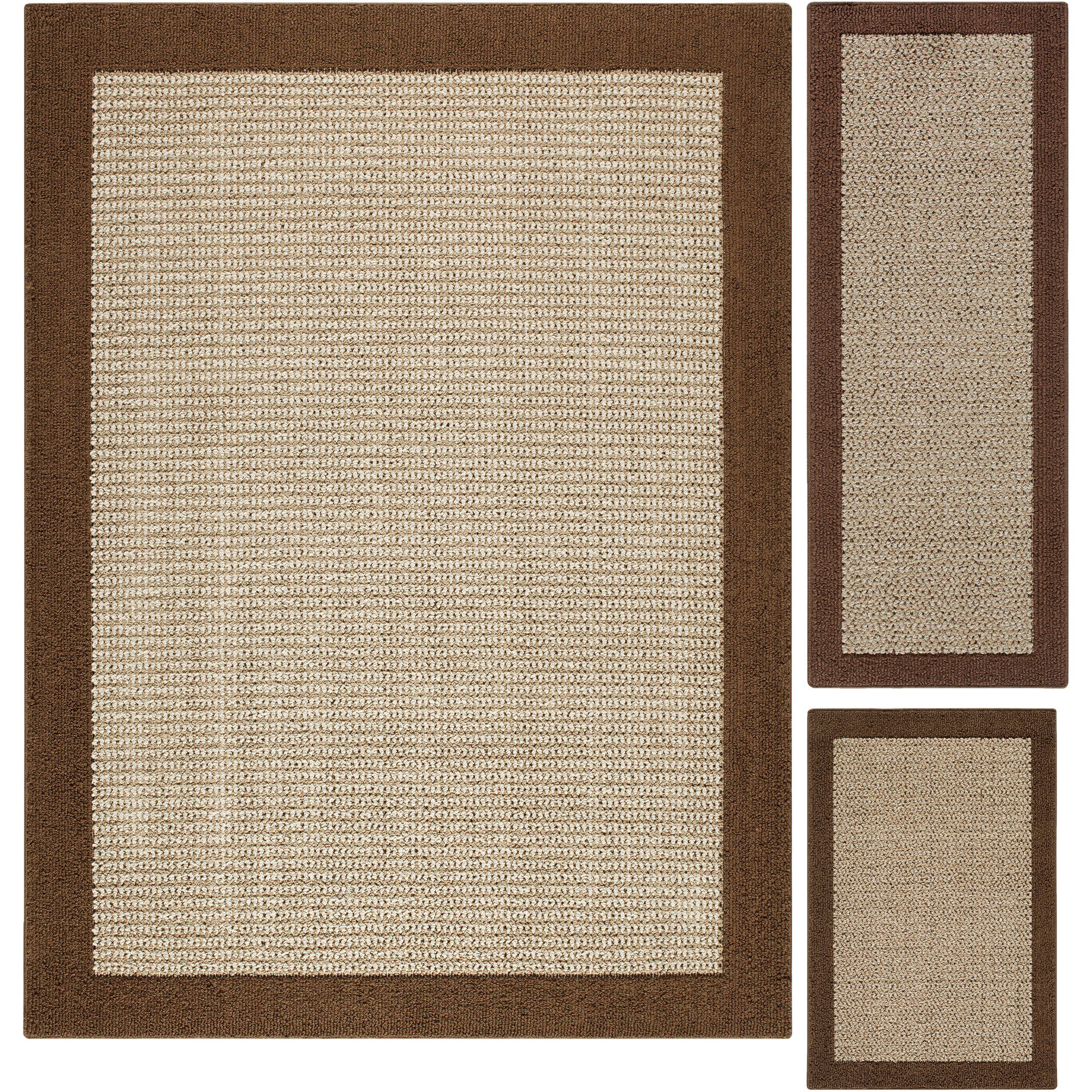 Mainstays Faux Sisal 3-Piece Area Rug Set
