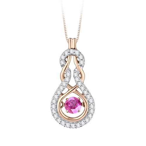 SHAH DIAMONDS INC 10K Pink Gold 1 8ct TDW Dancing Pink Sapphire and White Diamond Fashion Pendant (G-H,I2-I3) by Overstock