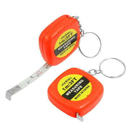 2 Pcs Keys Holder Measuring 1 Meter 3 Feet Mini Tape Measure + Keyring - image 1 of 1