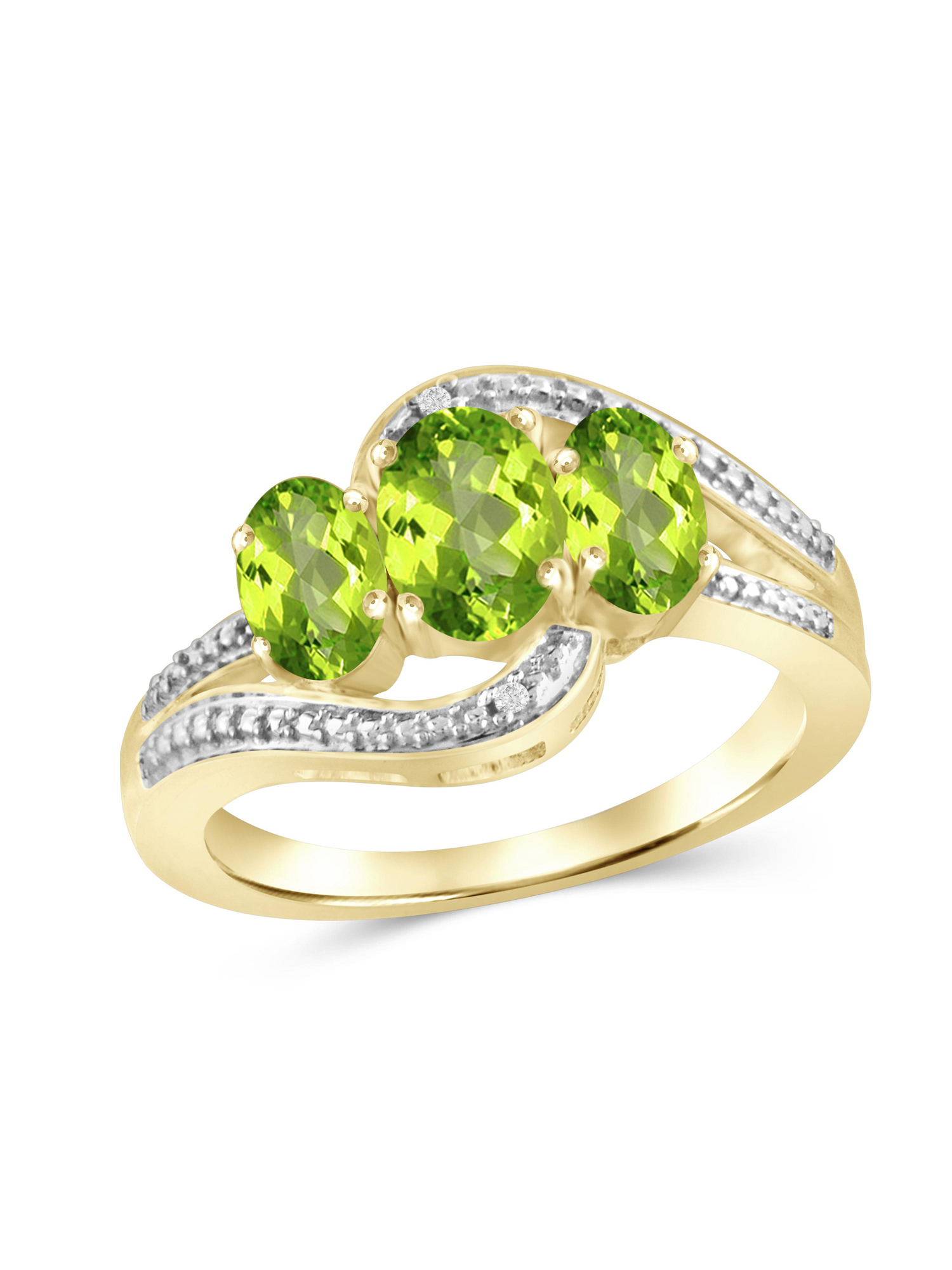 1 3/4 Carat T G W  Peridot And White Diamond Accent 14k Gold Over Silver  Ring