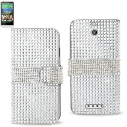 Desire Jewelry (REIKO HTC DESIRE 510 JEWELRY DIAMOND RHINESTONE WALLET CASE IN SILVER)