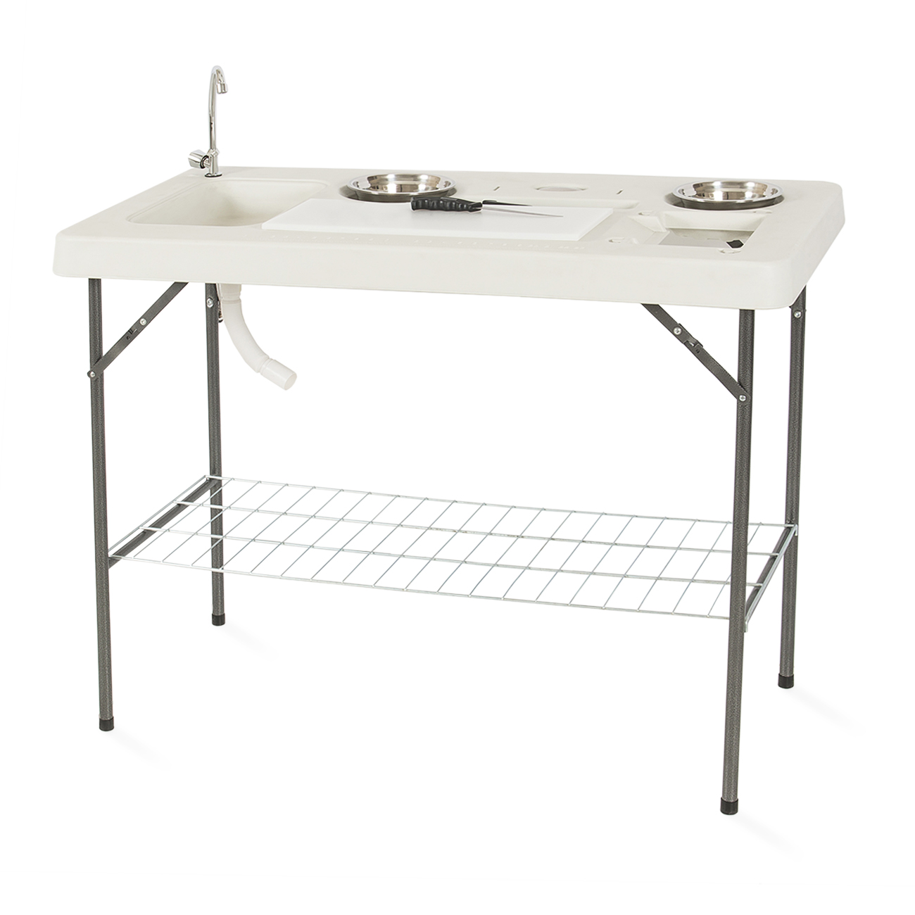 Onebigoutlet Fishing Table Outdoor Cutting Fillet Hunting w/ 2 Bowl ...