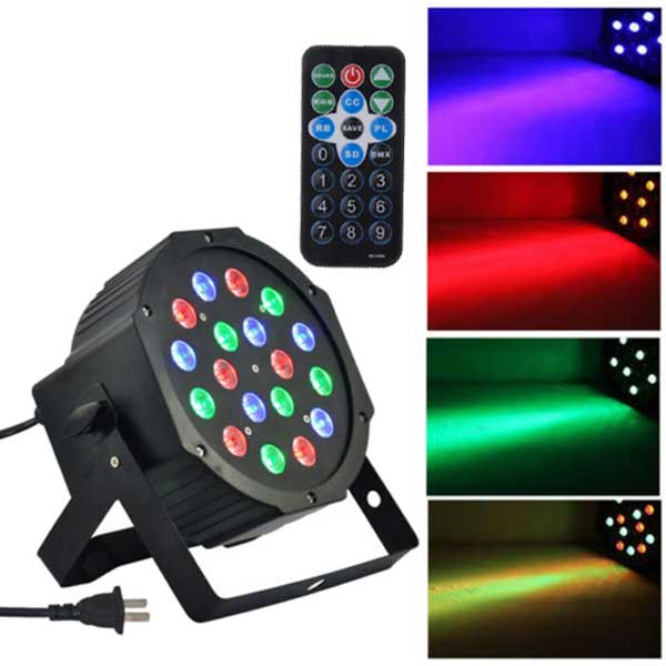 Ktaxon 54W LED Par Lights for Party Stage Lighting with RGB Magic Effect by Remote Control and DMX512 Club Bar Light 18LEDsf