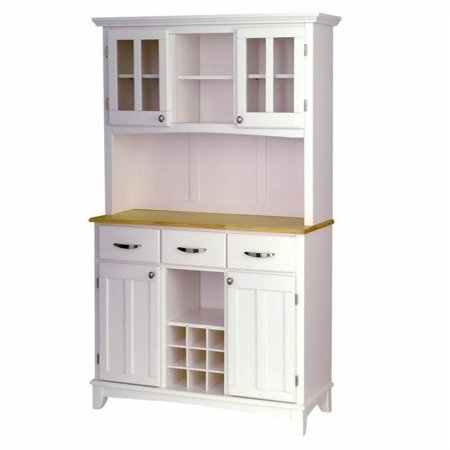 Bowery Hill Wood Top Wine Rack Buffet Server with 2 Door Hutch in White ()