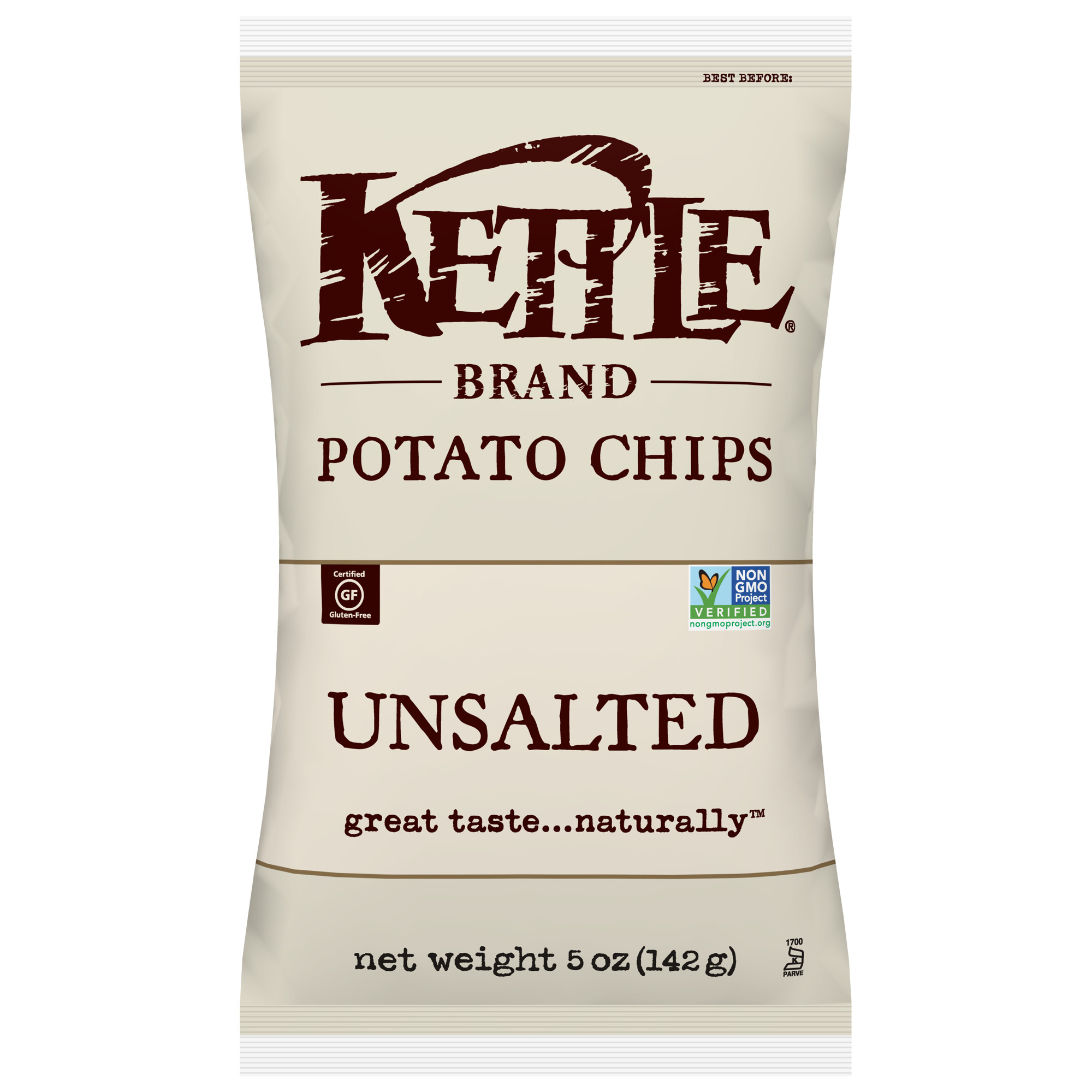 Kettle Brand Potato Chips, Unsalted, 5 Oz